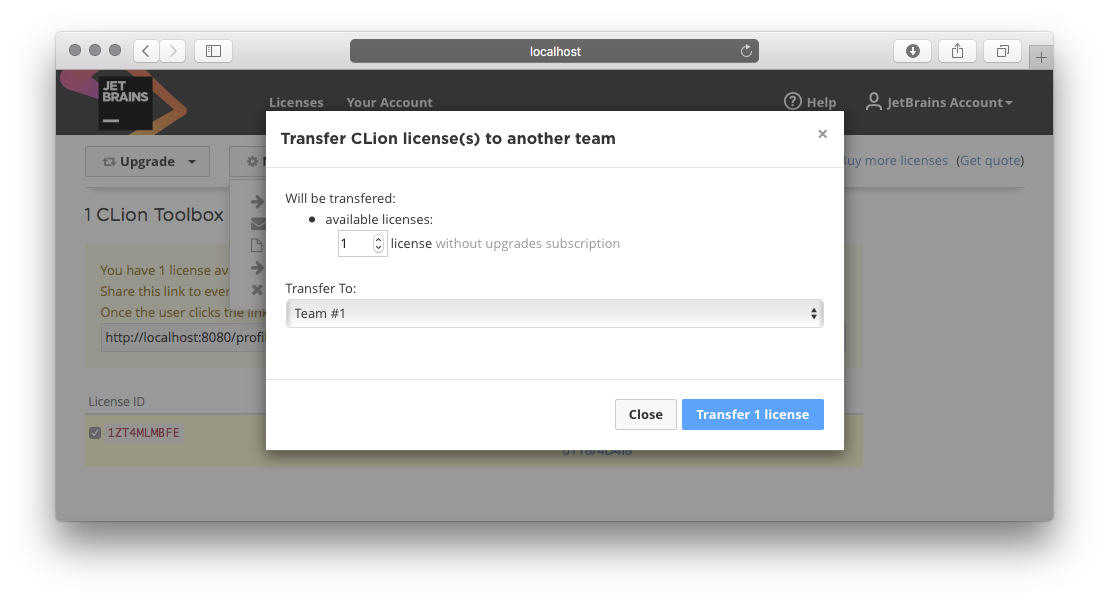 Transferring licenses between teams – Licensing and